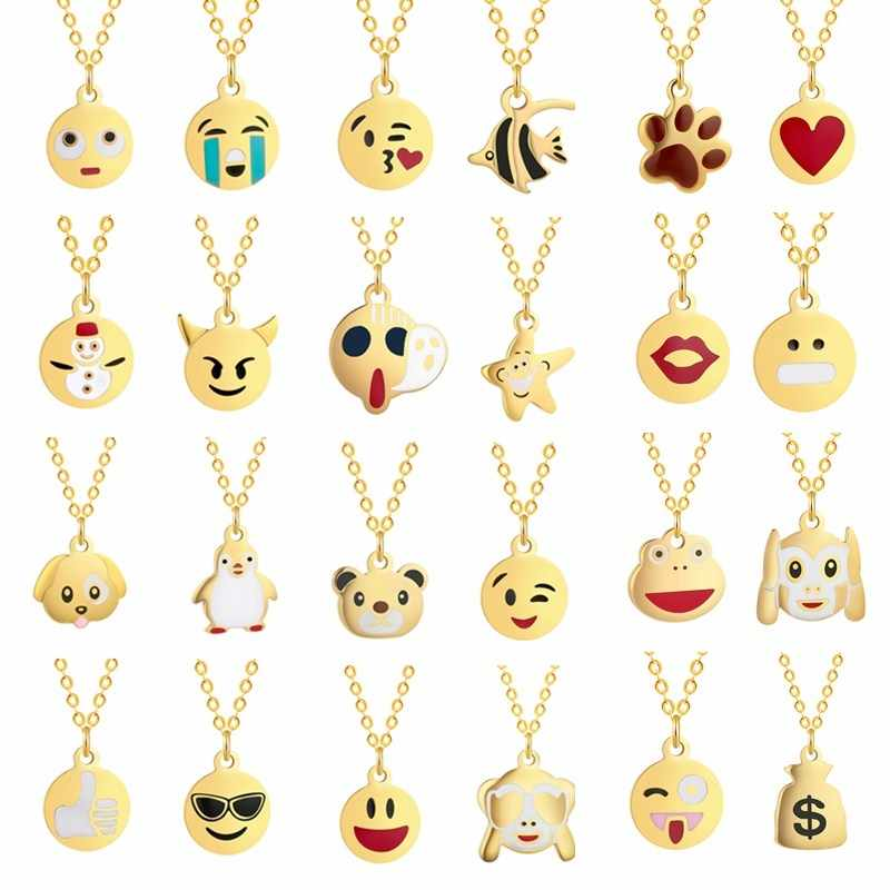 Fashion Golden Statement Necklace Women Baby Children Kids Boho Jewelry Cute Emoji Pendant Animal Chain Necklaces Gift