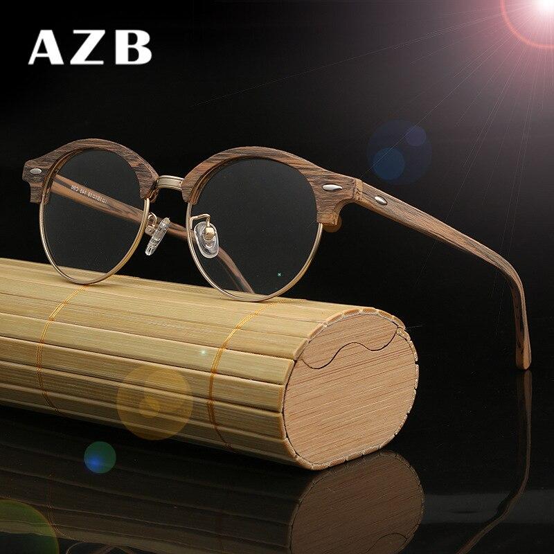 AZB Eyeglasses Frames Wooden Vintage Round Myopia Spectacle Glasses Frames With Clear Lens Computer Reading Glasses Frame