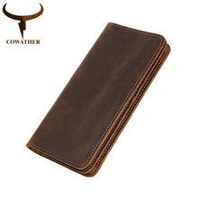 цены COWATHER 100% top cow genuine leather Crazy horse leather men wallet 2019 long style high quality male purse Q2043 free shipping