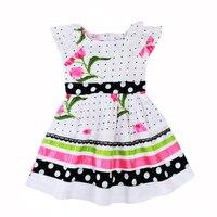 As Meninas da criança Vestido de Verão Floral Vestido de Festa Menina Polka Dot Roupa Dos Miúdos Bonito Cinto Arco Crianças Vestidos de Manga Curta Traje