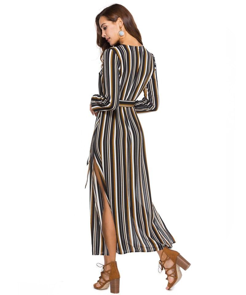 Women Summer Boho Maxi Dresses Large Size Elegant Casual Bohemian Long Stripe Dress Aline Plus Size 2018 Spring 8