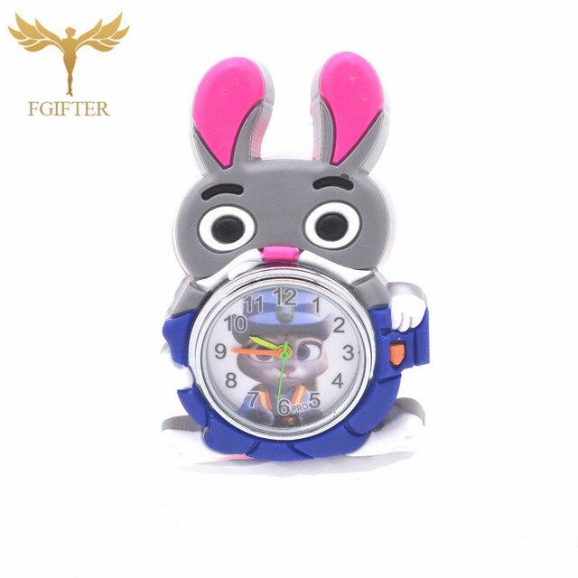 Kids Children Girls 3D Rabbit Animal Cartoon Watch Students Sister Child Clock L