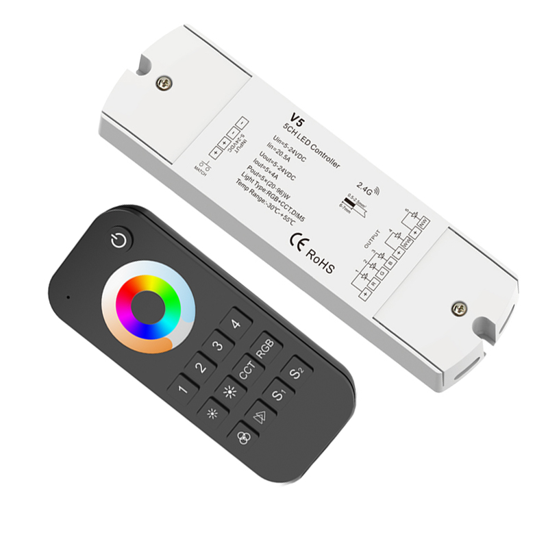 New Led RGB +CCT Strip Controller 2.4G RF Remote Wireless 4A*5CH 20A Output 4 zone multi RGB CCT Led Strip Controller V5+RT10 new led rgb cct strip controller 2 4g rf remote wireless 3a 5ch output dc12v 24v 4 zone rgb cct led strip controller v5 rt10