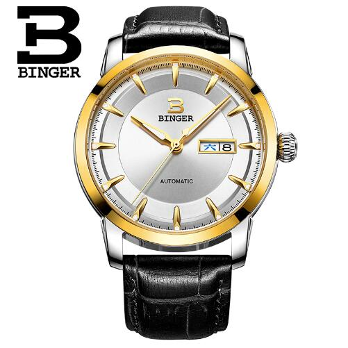 Geneva Binger Luxury Brand Business Casual Gold Leather Automatic Watch Men Fashion Calendar Waterproof Wristwatch Montre Homme 2017 new full steel automatic watch binger casual fashion wristwatch with gold calendar man business hours clock relogio reloj