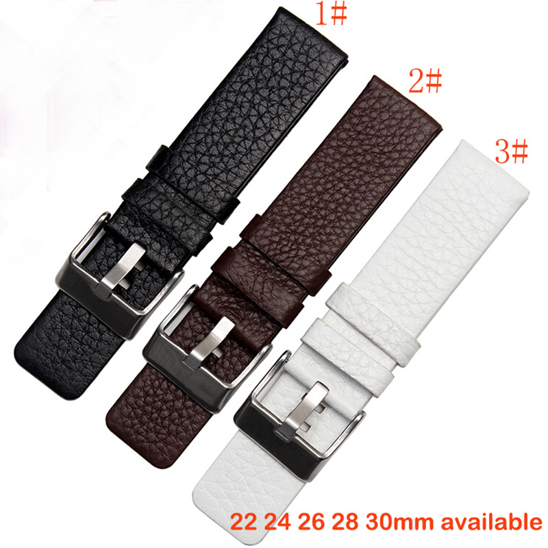 Leather Strap Watchband 22 24 26 28 30mm Brown Accessories Wrist Watch Band Soft And Comfortable Watch Bracelet