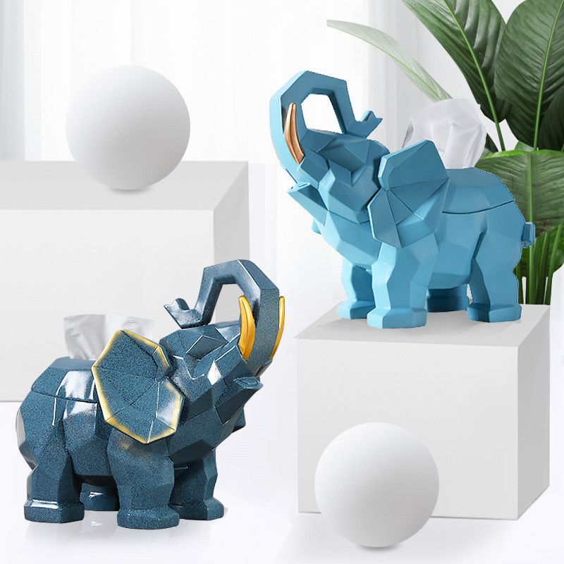 Home Creative Geometry Elephant Tissue Holder Phone Holder TV Remote Control Key Holder Living Room Coffee Table Decoration african elephant