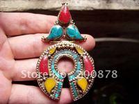 Tibetan JewelryTBP020  Nepal brass big amulet pendant87*50mmsemi-precious stone jewelryTibetan jewelrylow MOQ