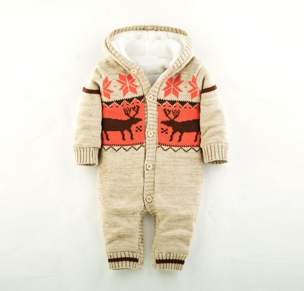 2016 Baby Rompers Winter Thick Climbing Clothes Newborn Boys Girls Warm Romper Knitted Sweater Christmas Deer Hooded Outwear 2017 baby rompers winter thick climbing clothes newborn boys girls warm romper knitted sweater christmas deer hooded outwear