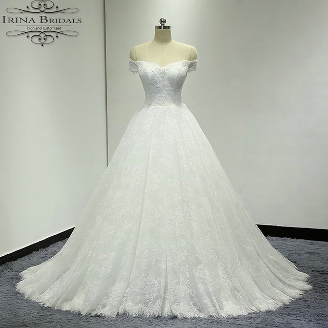 Real Sample Boat Neck A Line Lace Wedding Dress 2018 In Wedding
