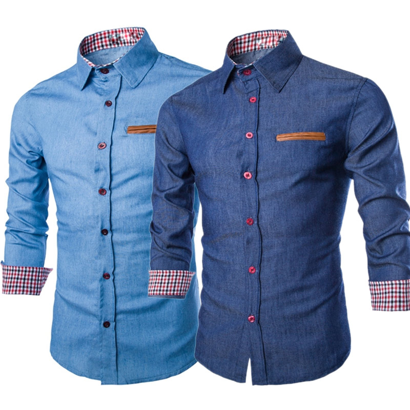 Fashion Men Denim Jeans Shirt Casual Long Sleeve Slim Fit Cotton Tops Shirts FS99 ...