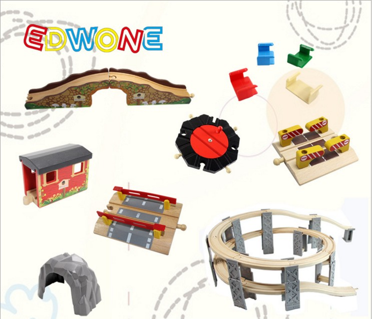 EDWONE Beech Thoma Bridge Rail accessories fit For Thomas and Brio Wooden Train Educational Boy/ Kids Toy Multiple track