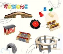 EDWONE Beech Thomas Bridge Rail tillbehör passar Thomas och Brio Wooden Train Educational Boy / Kids Toy Multiple Track
