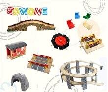 Купить с кэшбэком EDWONE Beech Thomas Bridge Rail accessories fit Thomas and Brio Wooden Train Educational Boy/ Kids Toy Multiple track
