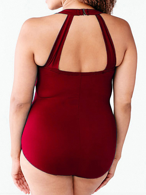 Europea Plus Size Halter Sexy Monokini Women's One Piece Swimsuit Large Size Bathing Suits Woman Beach Swimwear Plus Size XX-290