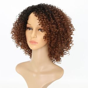"""Image 3 - Luxury For Braiding Heat Resistant Fiber 14"""" Ombre Brown Color Afro Kinky Curly High Temperature Synthetic Wigs"""