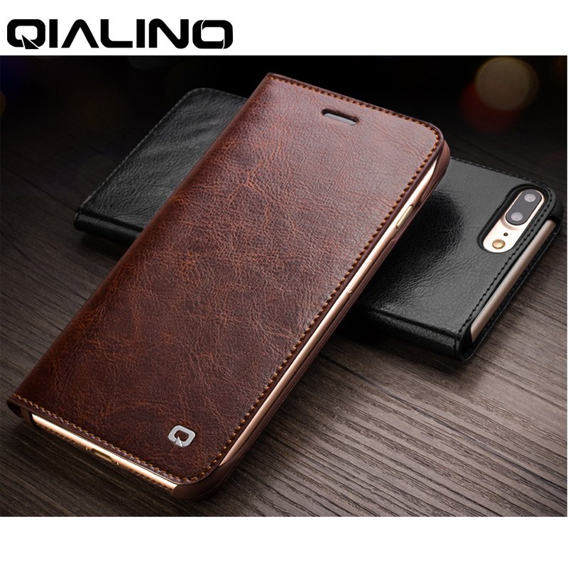 QIALINO Phone Case For IPhone 8 7 6 Plus Genuine Leather Flip Cover Wallet For IPhone 6s 7 8 Plus Ultra Slim Folio Card Slots
