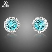 AZORA Blue Stellux Austrian Crystal Surround With 2 Row Micro Crystals Cute Small Round Stud Earrings TE0251(China)