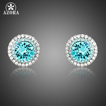 AZORA Blue Stellux Austrian Crystal Surround With 2 Row Micro Crystals Cute Small Round Stud Earrings TE0251