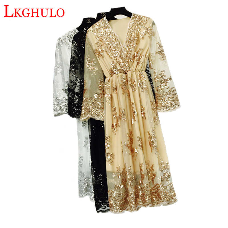 Autumn Dress Women New Sexy Mesh V-Neck Sequins Vintage Dress Female Elegant Streetwear Christmas Party Dresses Vestidos W682