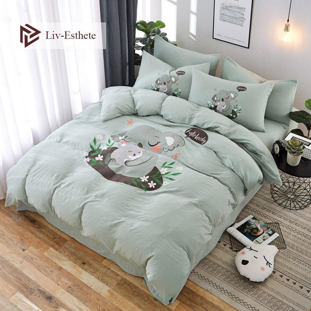 Liv-Esthete Lovely Koala Cartoon Bedding Set Green Duvet Cover Bedspread Flat Sheet Double Queen King Bed Linen For Adult Kids