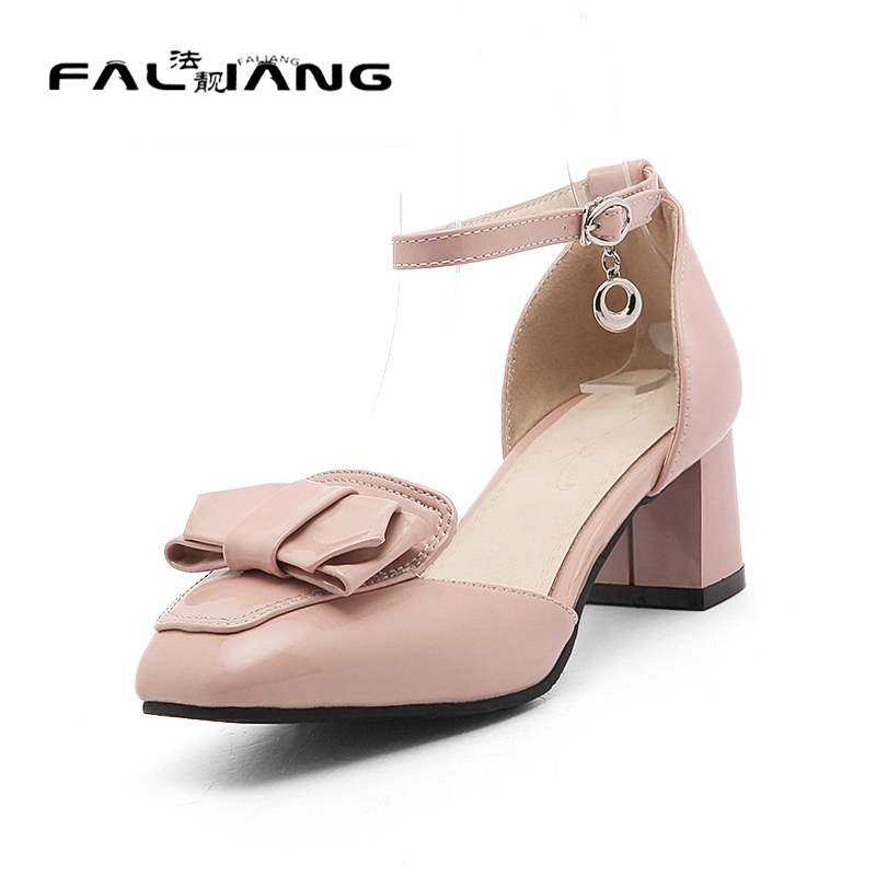 ФОТО Big Size 11 12 Elegant Buckle Strap Solid Shallow Cover Heel Women's Shoes High Heels Pumps Woman For Women
