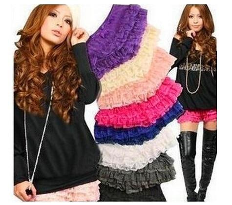 DHL 100 Pieces 2019 New Shorts Short Women Fashion Multi Layer Crochet Lace Elastic Hollow Cake Culottes Shorts