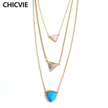 CHICVIE Multilayer Crystal Necklaces Triangle Pendant Gold Color Chain Punk Necklace Jewelry Vintage Accessories SNE160068