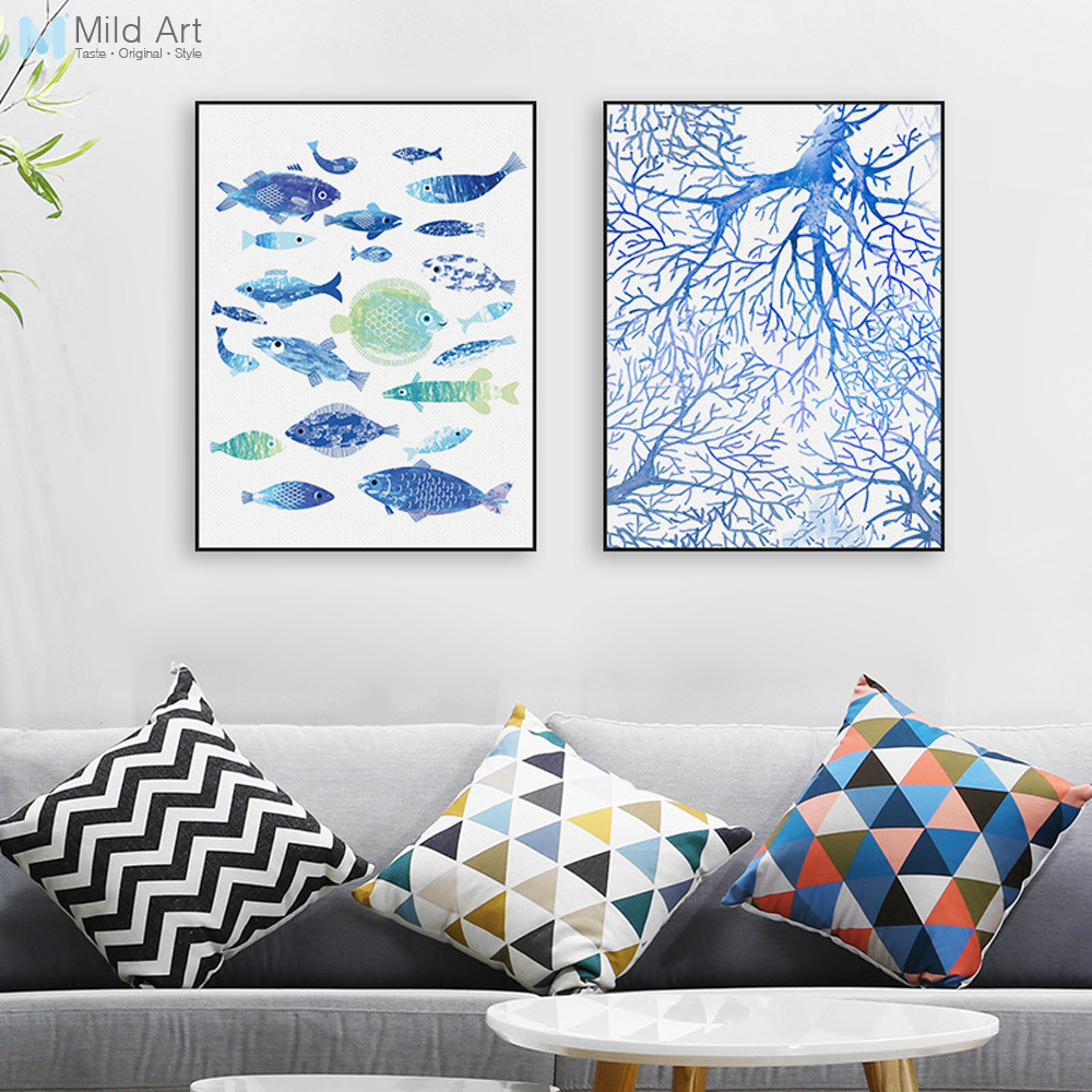 Abstracto mar pescado azul coral grande del cartel del arte de la ...