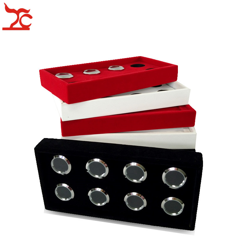 New Quality Removable 8 Slot Round Metal Diamond Jewelry Display Case Wooden Gem Storage Organizer Exhibition Tray 11*22 CM