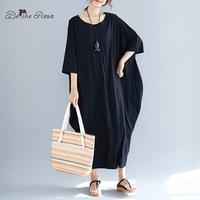 BelineRosa Big Sizes Women Black Dress Bat Design 4XL 5XL 6XL Plus Size Women Clothing Women's Tunic XE000061