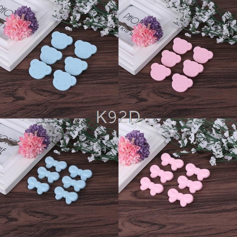 Baby Bib Safety Pins Cute Bowknot/ Bear Handkerchief Brooch Infant Hanky Fastener 6PCS/SET J11