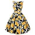 Sleeveless Floral 60s Vintage Dress 50s Swing Pinup Vestidos Summer Style Women O Neck Masquerade Rockabilly Dress Belt 2016