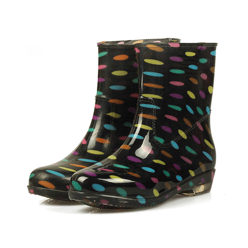 Women Rain Boots 2017 Autumn Shoes Woman Slip On Mid-Calf Motorcycle Platform Rubber Waterproof Boot Botas Feminina XWX511