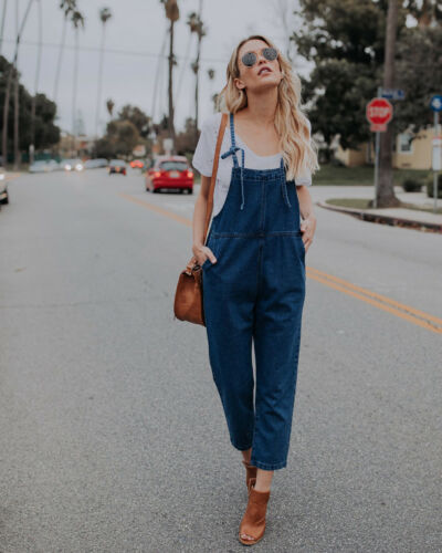 Denim Wash Overall For Summer Lady Women arrival Cool Street Blue Plain Women Sleeveless Loose Jeans Jumpsuit Long Pants Rompers