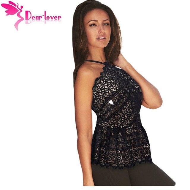 Dear Lover Черный Цветочные Кружева Наложение Fit & Flare Топ женские Рубашки Blusas Femininas Лето 2016 Топы для Женщин Одежда LC25769