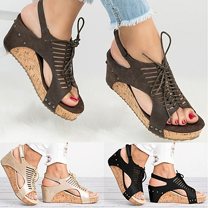 PU Rubber 3 Color Wedge Female Sandals Slim Fashion Wild Handmade Beaded Sandals Women High HeelsPU Rubber 3 Color Wedge Female Sandals Slim Fashion Wild Handmade Beaded Sandals Women High Heels