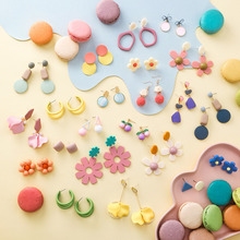 Summer Multicolor Geometric Acrylic Irregular Hollow Petals Round  Drop Earrings for Women Metal Bump Party Beach Jewelry