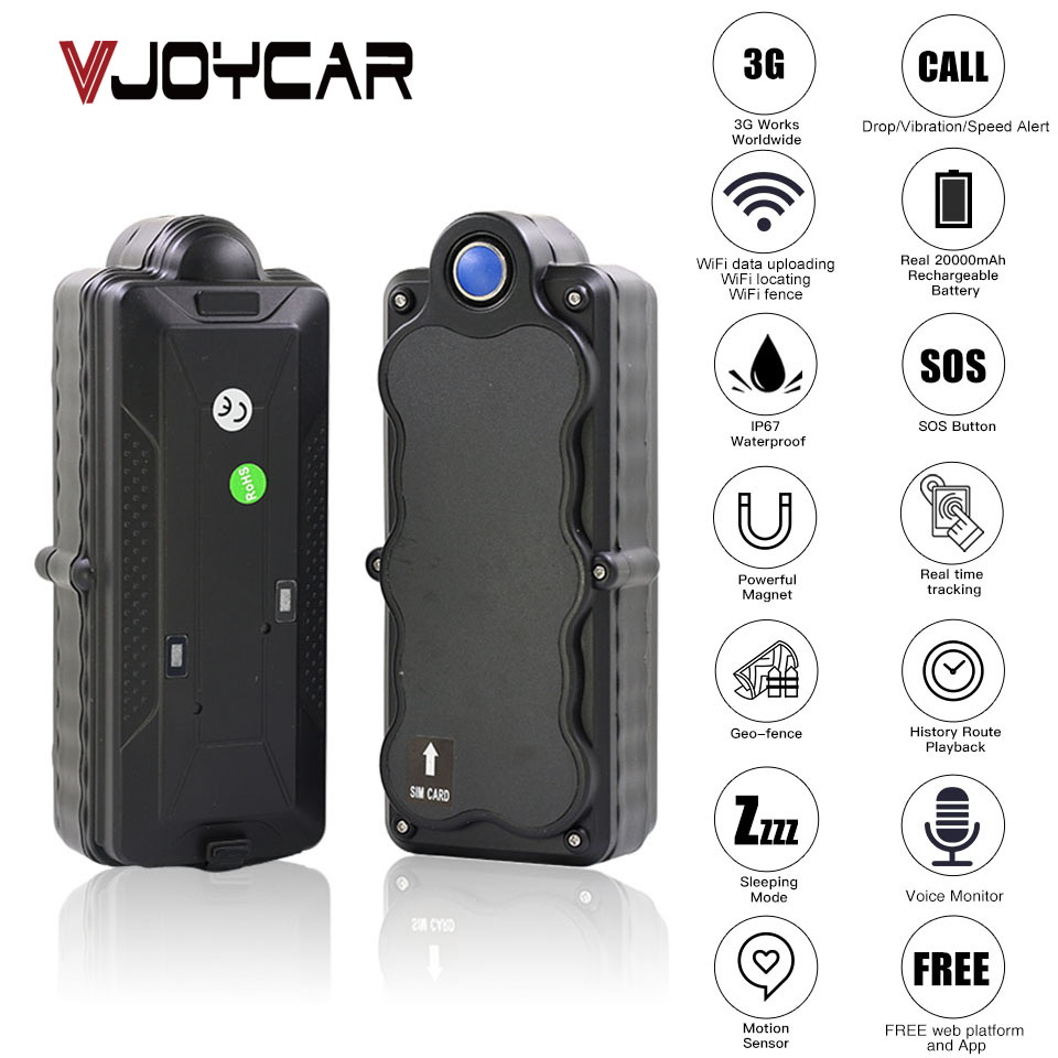VJOYCAR TK20G China Best 4G 3G GPS Tracker Car Waterproof Portable 20000mAh Battery WiFi SD Data Logger GSM Voice Monitor Bug