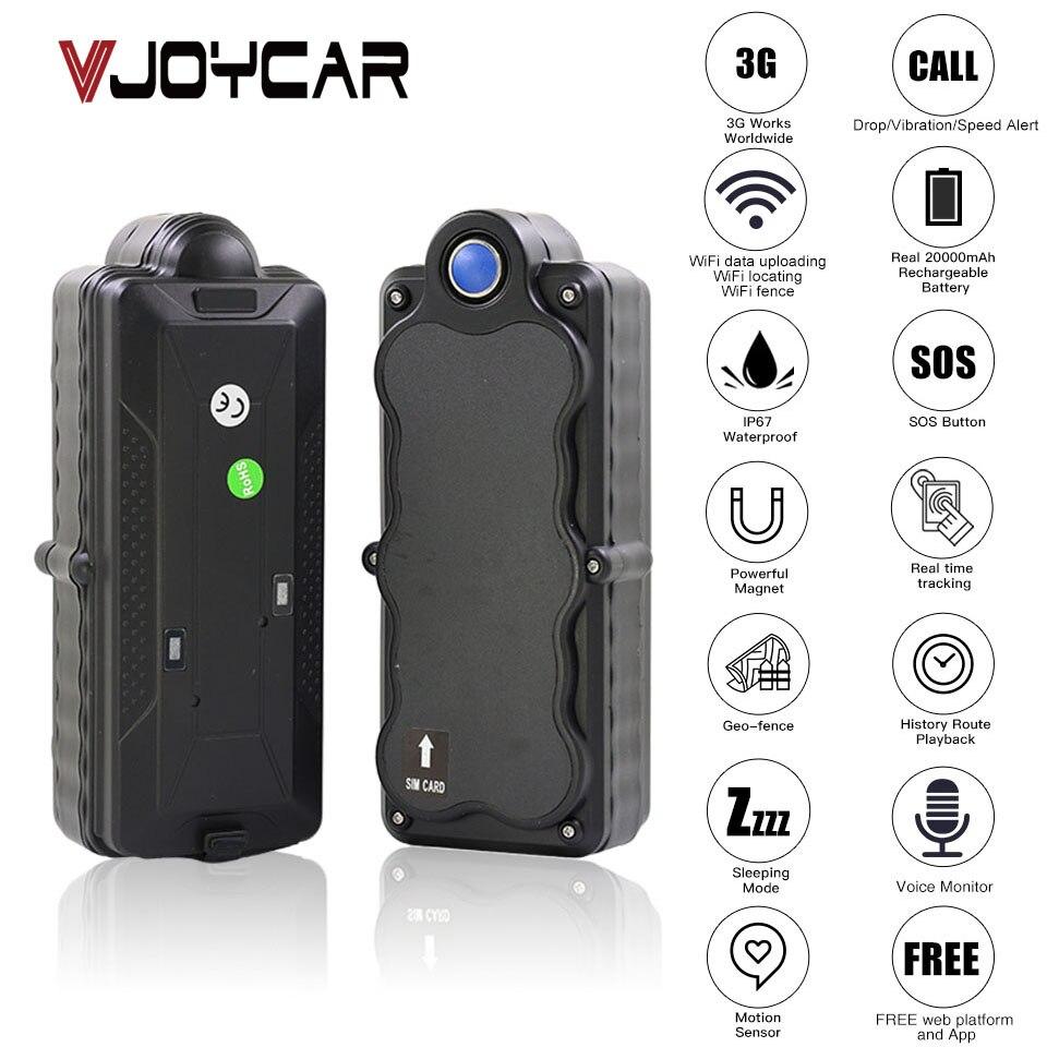 VJOYCAR TK20G China Melhor 4G 3G Carro Rastreador GPS À Prova D' Água Portátil Bateria 20000 mAh WiFi SD Registrador De Dados monitor De GSM Voz Bug gps rastreador
