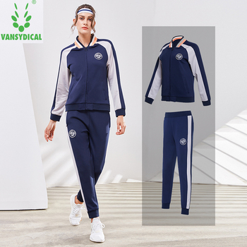 Vansydical Sports Suits Women's Sportswear Fitness Running Jackets Pants Set Autumn Winter Outdoor Workout Jogging Suits 2pcs