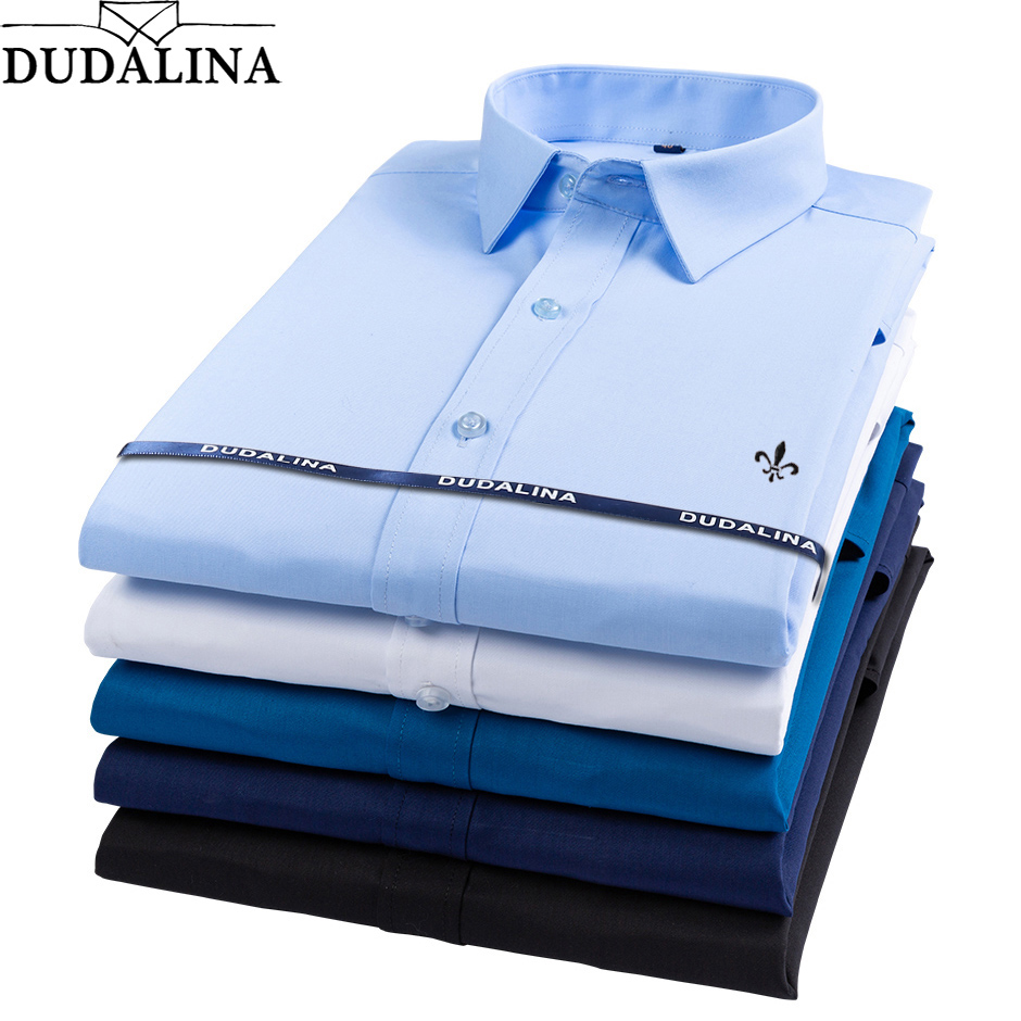Dudalina Bamboo Fiber 2019 Men Shirts Male Long Sleeved Solid Slim Fit Casual Shirt Men's Social Business