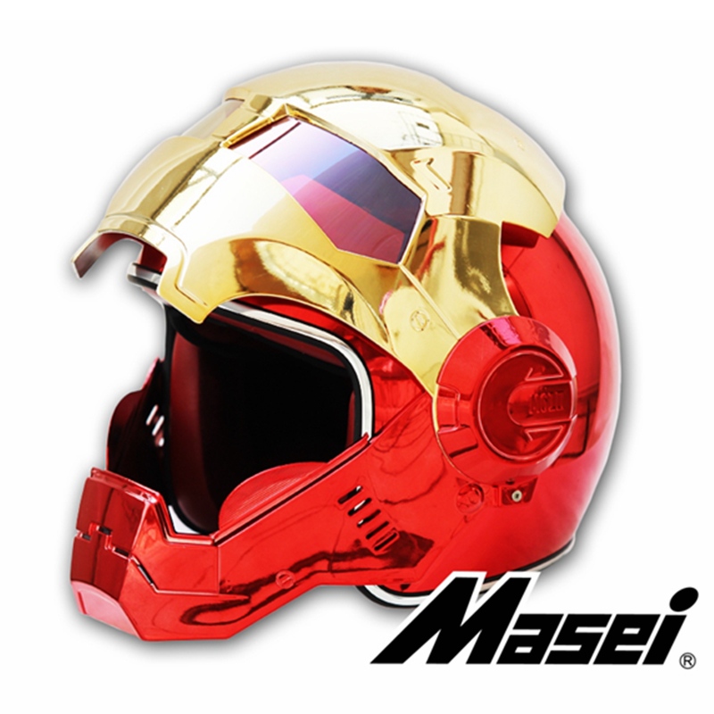 MASEI 610 placage Chrome galvanoplastie or rouge IRONMAN fer homme casque moto casque demi face ouverte casque ABS motocross - 2
