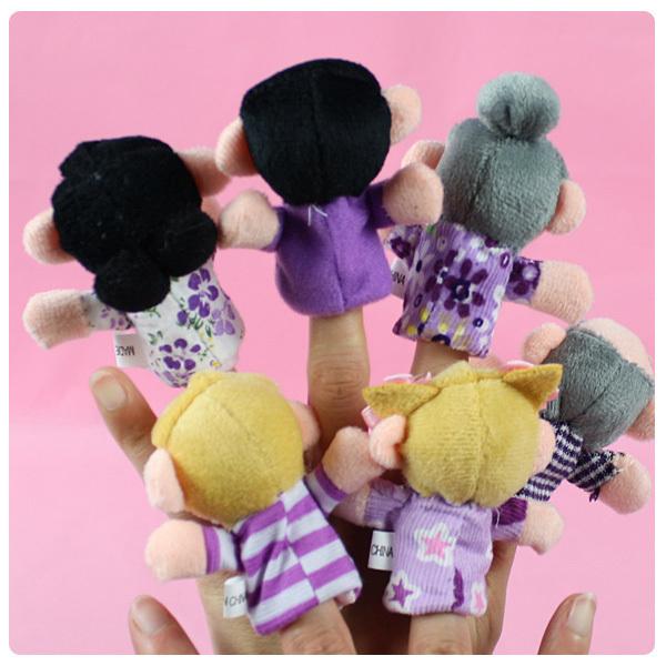 6pcs/lot Family Finger Puppets Plush Cloth Children Finger Hand Puppe Toys Glove Puppets