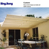 Custom Wave stretch shape sun shade sail HDPE material shading hang curtain Sunshade Gazebos canopy curtains sun screen awnings