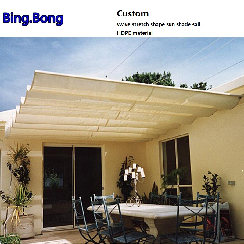 Custom Wave Stretch Shape Sun Shade Sail HDPE Material Shading Hang Curtain Sunshade Gazebos Canopy Curtains Sun Screen Awnings