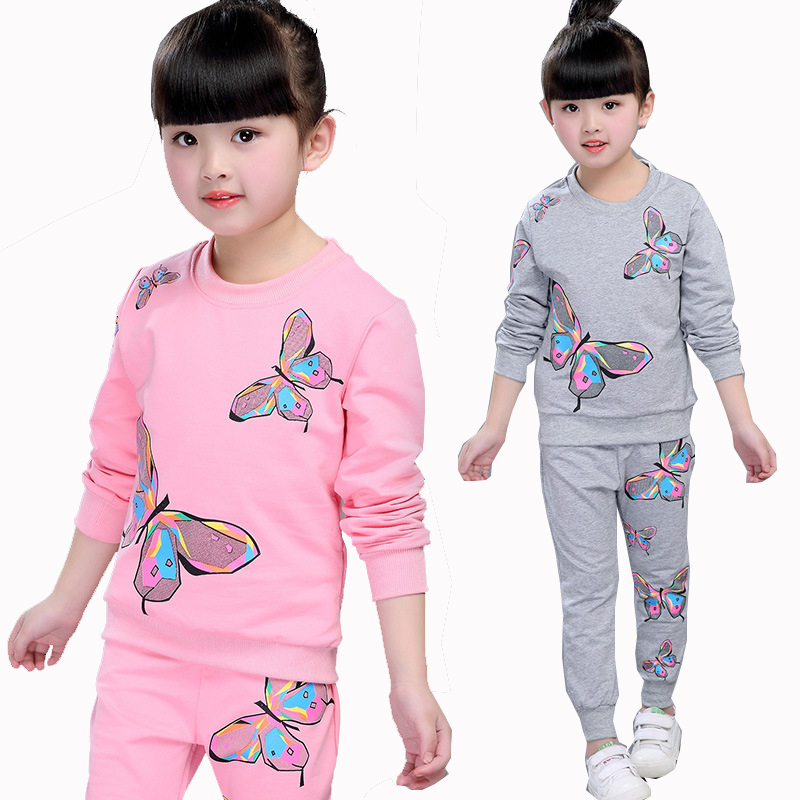 Pink Baby Kids Girls Spring Autumn Long Sleeve Butterfly Print Tracksuit Set For Girls Kids Teens Clothes Sweater And Pants Sets