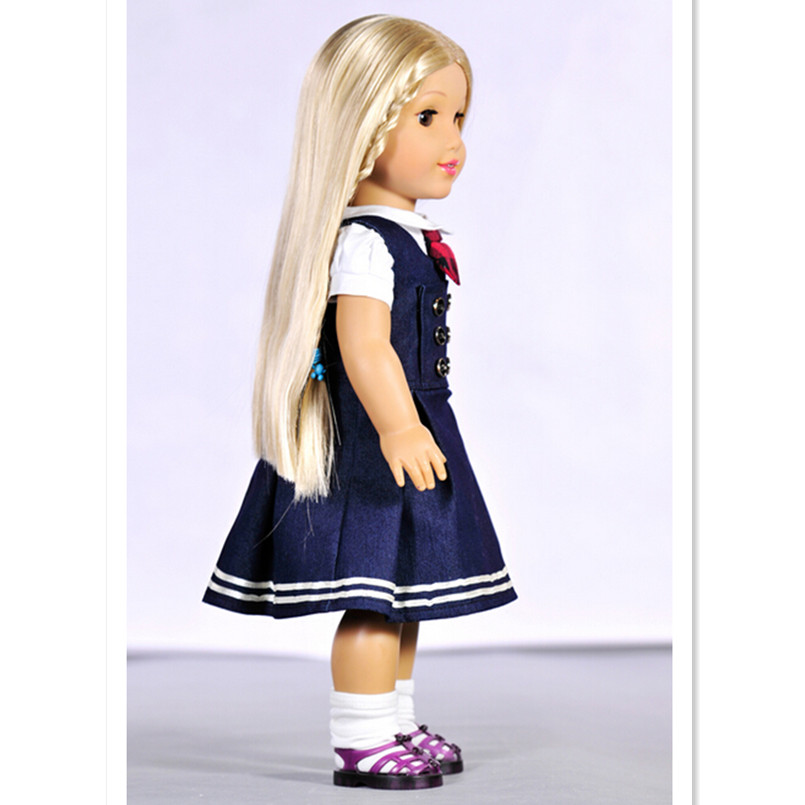 2 Pcs/Set 1 T-shirt + 1 Dress for 18 Inch American Girl Dolls,New Style School Uniforms Doll Clothes,Lovely Doll Dress