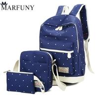 3 Pcs Sets Dot Backpack Women Bag High Quality Canvas School Bags For Girls Backpacks For