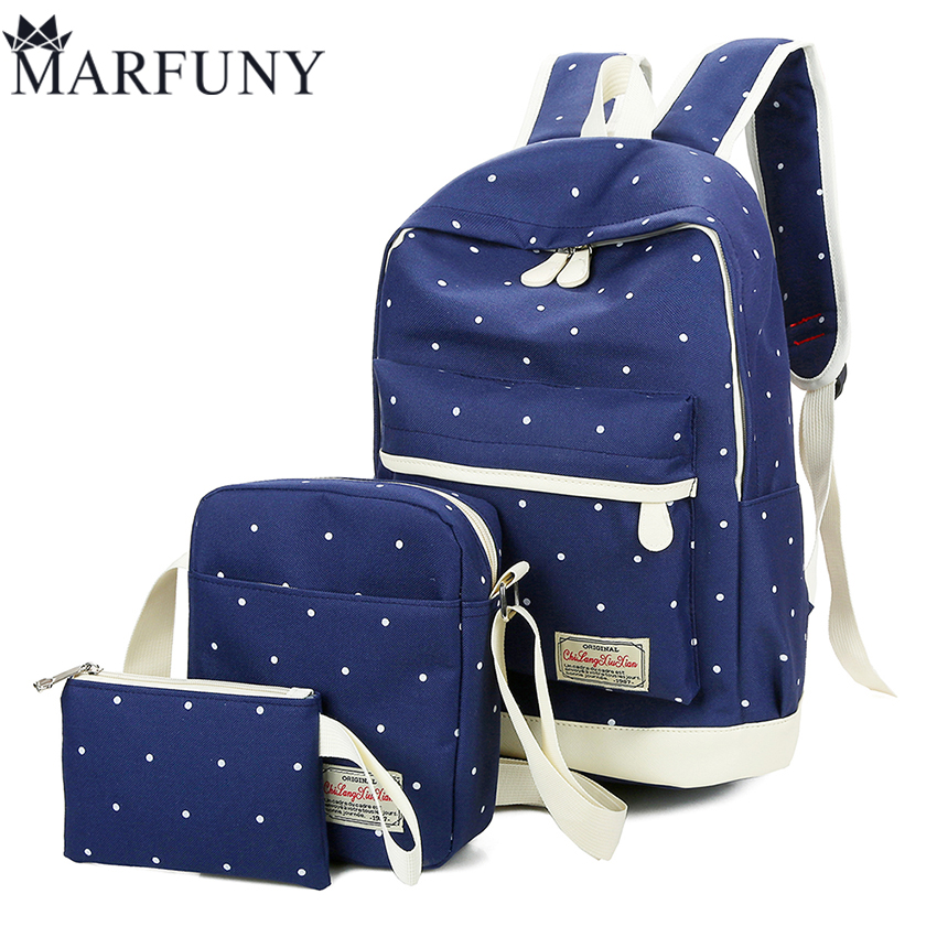 3 Pcs/Sets Dot Backpack Women Bag High Quality Canvas School Bags For Girls Backpacks For Women 2017 New Solid Shoulder Bags Sac