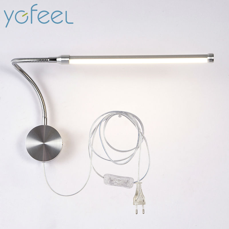 [YGFEEL] 6W LED Wall Lamps With European Plug / American Plug Indoor Bedroom Bedside Lamp Study Reading Lighting AC90-260V